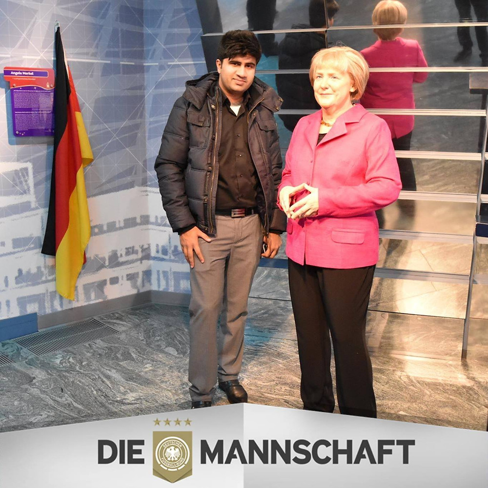 With Angela Merkel at Madame Tussauds Berlin