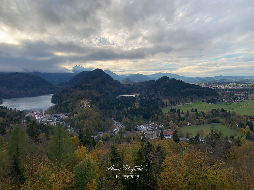 Alpsee and Hohenschwangau Castle view from Neuschwanstein castle