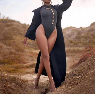 Trench Coat and Turtle Neck Leotard