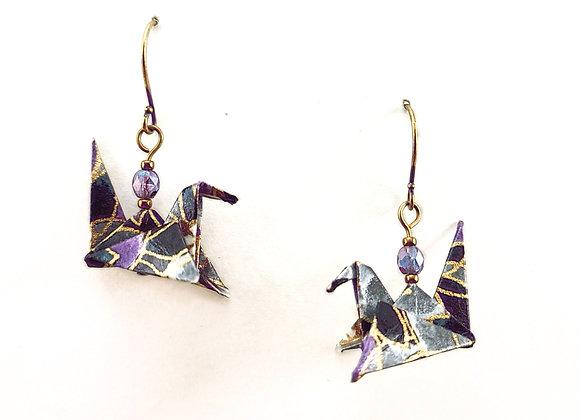 Origami Birds in Purple & Black