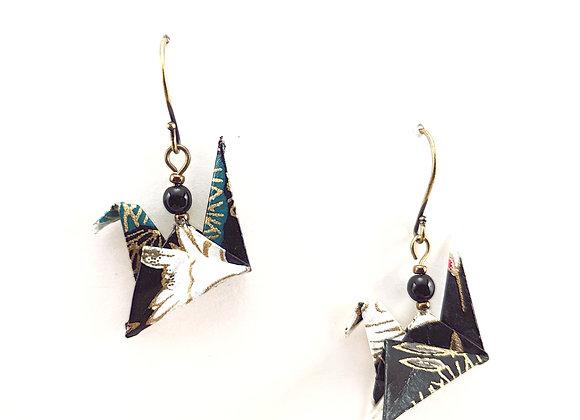 Origami Birds in Black, White, & Green