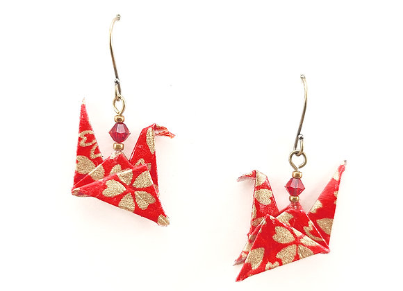 Origami Birds in Red&Gold