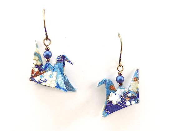 Origami Birds in Shades of Blue