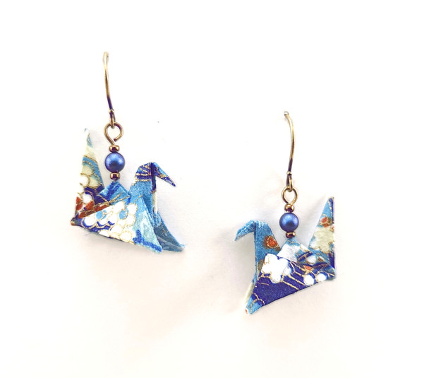 Origami Birds in Blues and Purples