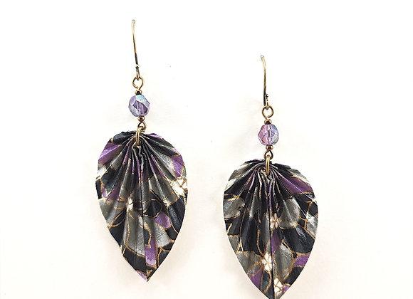 Origami Leaves in Purple&Black