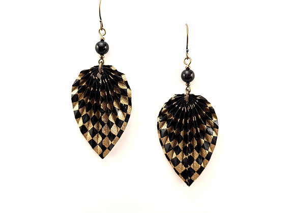 Origami Leaves in Black and Gold