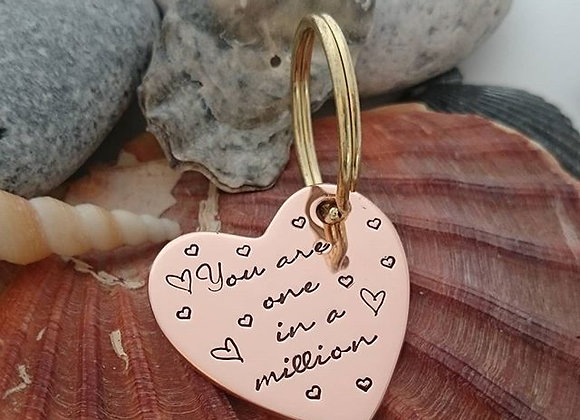 You are one in a million - copper heart keyring