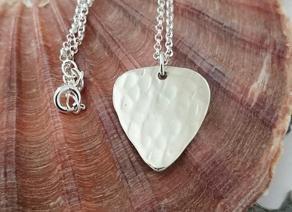 Textured Sterling Silver Plectrum Necklace