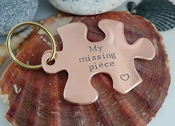 Large Copper Jigsaw Piece Keyring