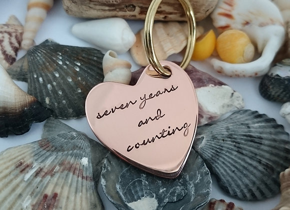 Copper Heart Keyring - seven years and counting