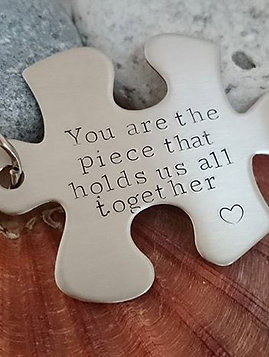Personalised Jigsaw Piece Steel Keyring