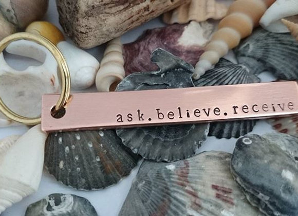 ask. believe. receive. gratitude keyring