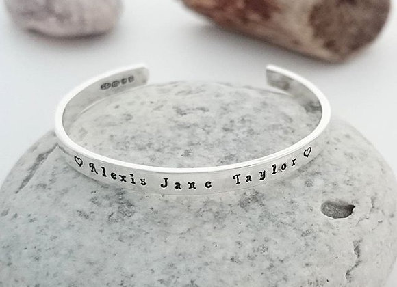 Personalised Christening Bracelet - Hallmarked Sterling Silver