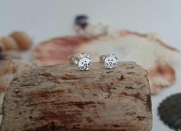 Sterling Silver Cat Earrings