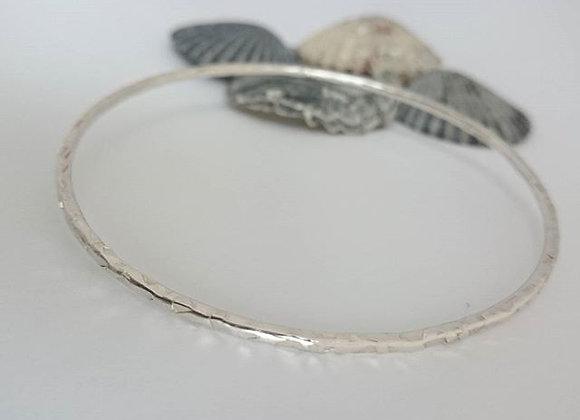 Sterling Silver Textured Bangle - Hallmarked