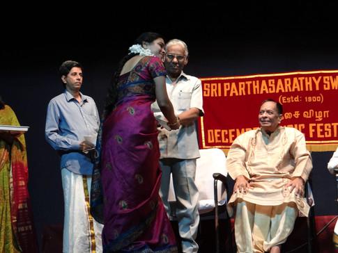Best Performer Award, Parthasarathy Swamy Sabha 2013
