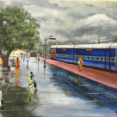 Railway Platform after Rains