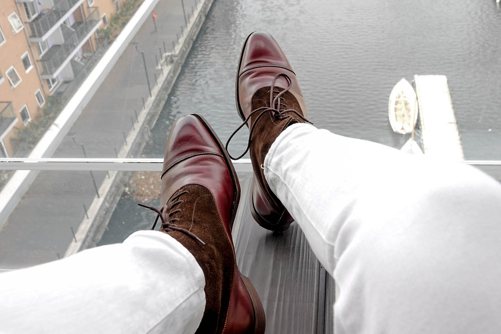 Balmoral boots from Crockett and Jones with river view