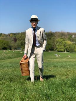 Cream DB linen-cotton suit