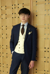 Navy suit with cream DB waistcoat