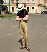 Polo shirt and high-waisted trousers