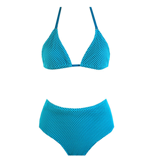 ba4cd90a640 Aqua blue string bikini and high waist briefs