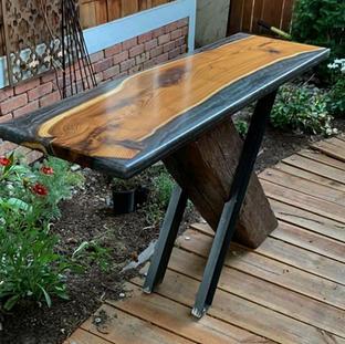 X-base Wood and Epoxy Sofa Table