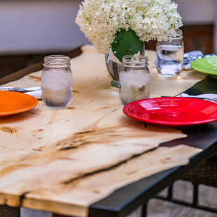 Live Wood and Epoxy Patio Table