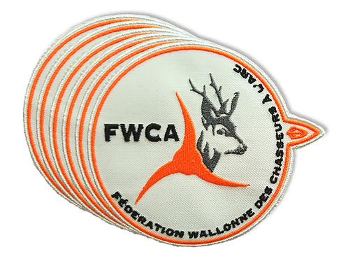 Ecusson brodé au logo de la  Fédération Wallonne des Chasseurs à l'Arc - FWCA