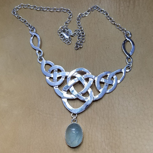 """""""Celtic Blues"""" Aquamarine and Silver Necklace"""