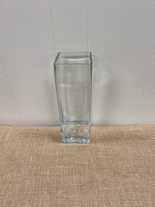 """12"""" Square Glass Vase with Heavy Bottom"""