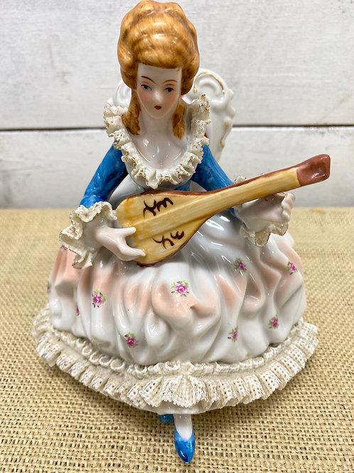 Victorian Harpist Figurine