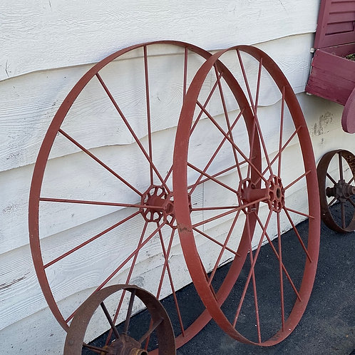 Set of 2 Red Wagon Wheels