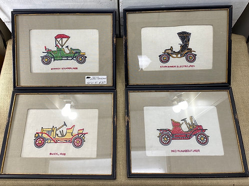 Set of 4 Needlepoint Roadster Pictures
