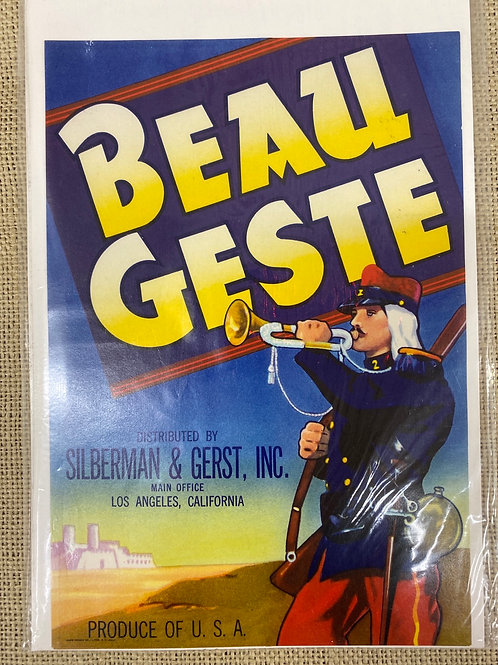 Beau Geste Crate Label