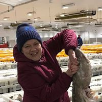 Our Manageress Jenny at Peterhead Fish Market