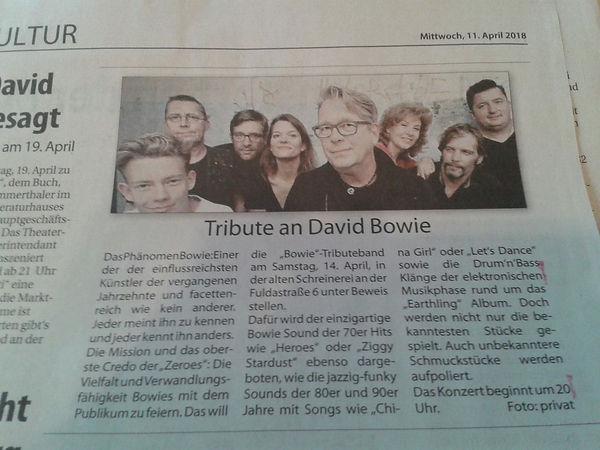 Zeroes Zeitung David Bowie Presse