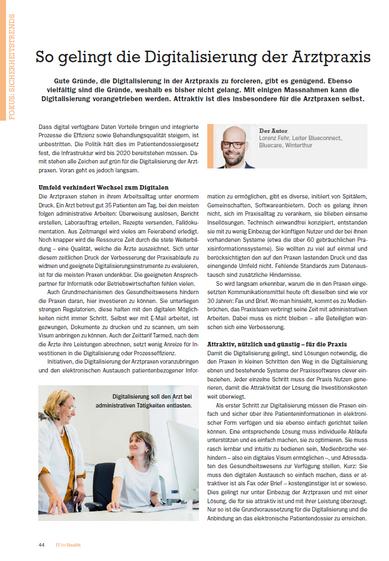 """""""So gelingt die Digitalisierung der Arztpraxis"""": Lorenz Fehr in """"IT for Health"""""""