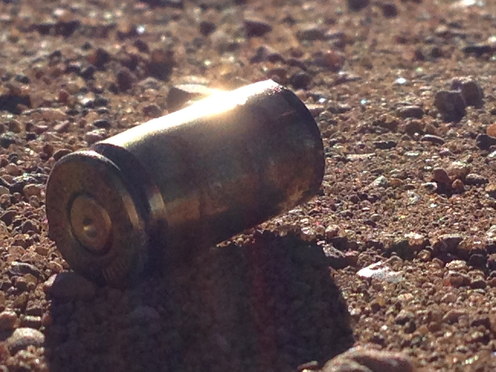 9 mm shell casing, one of seven, fired by DAPL contractor 40 yards from my back