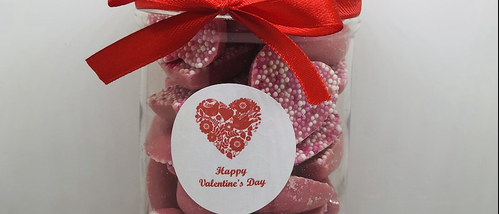Valentines jar filled with pink choc hearts