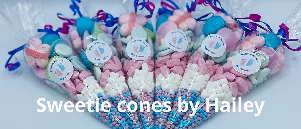Gender reveal sweet cones