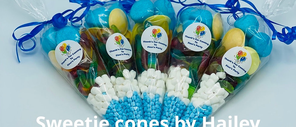 Blue themed sweet cones