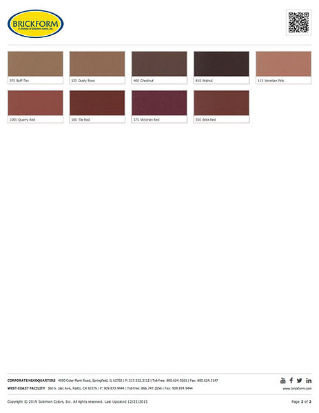 Brickform Standard Color Chart Page 2