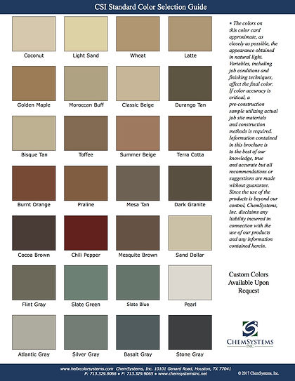 CSI Standard Color Chart
