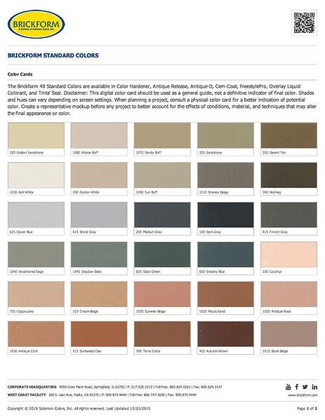 Brickform Standard Color Chart Page 1
