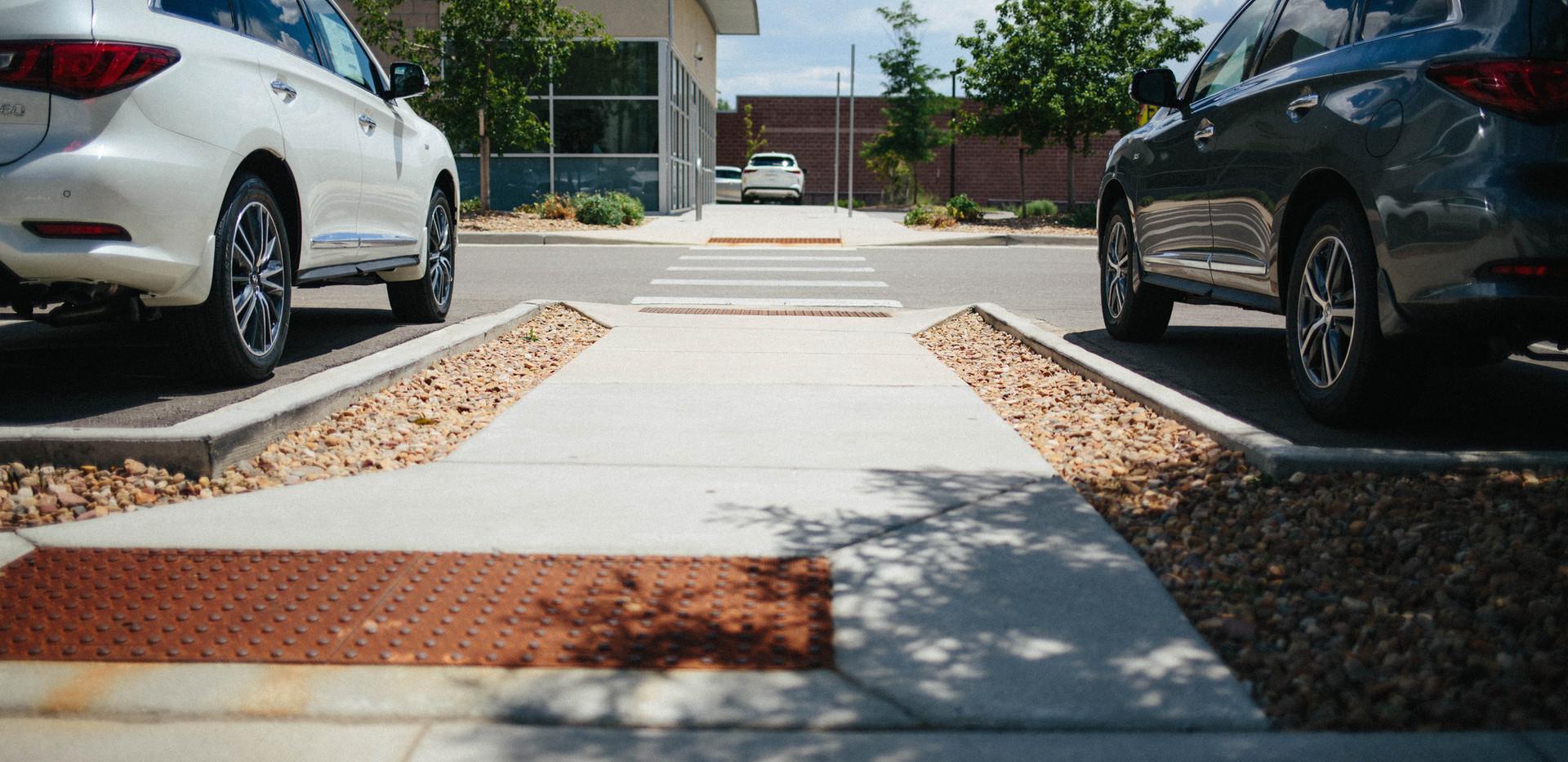 sidewalk, curb, and walkway