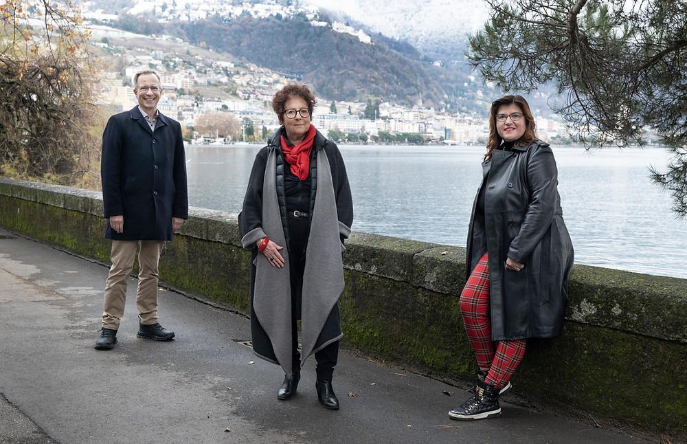 Olivier Gfeller, Jacqueline Pellet, Irina Gote, candidats à la Municipalité de Montreux