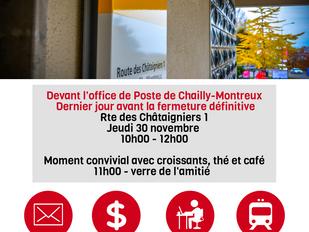 Dernier rassemblement devant la Poste de Chailly-Montreux
