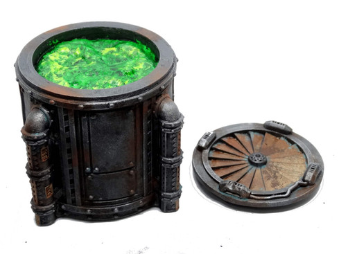Chemcial vats and industiral tabletop terrain from Mystic Pigeon Gaming