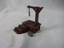 Executioners set miniatures with hangman's platform, stocks and chopping block